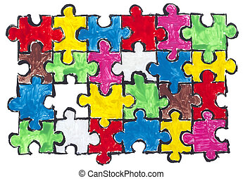 Painted puzzles abstract concept - Painted isolated abstract...