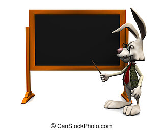 Cartoon rabbit pointing at blank blackboard - A cartoon...