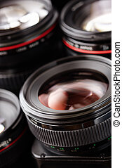 photography - many lens in closeup, selective focus on...