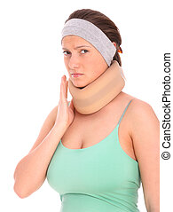 Serious injury - A picture of a young woman with a neck...
