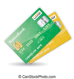 Set of Credit Cards - Set of Colorful Plastic Credit Cards,...