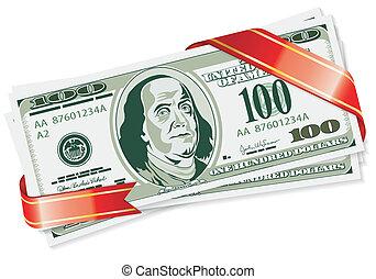 Dollar Bills with Ribbon