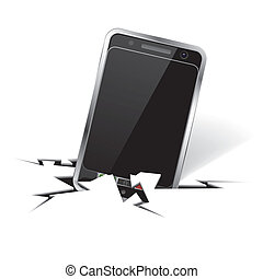 Smartphone in Crack - Icons Smartphone in Crack - Concept...
