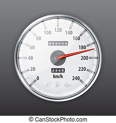 Speedometer - Detailed Car Speedometer with Warning Icons,...