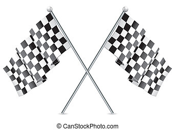 Racing Checkered Flags Finish - Concept - Winner. Two Racing...
