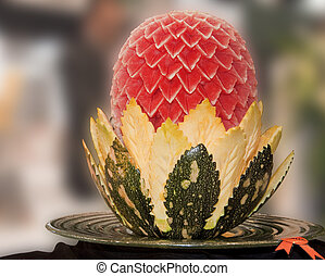 Food Carving - An water melon and pumpkin carved and...