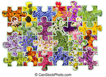 Floral puzzles abstract concept - abstract collage - floral...