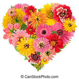 Summers flowers heart - Isolated Summers flowers heart...
