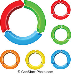 Set of arrow circles - Set number four of different colored...