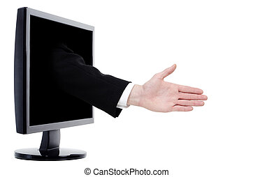 online trading - an arm with outstretched hand comes out of...
