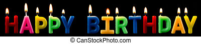 happy birthday candles - happy birthday as a logo with...