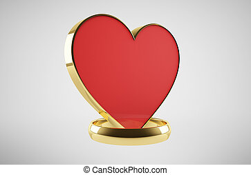 Wedding ring with a heart symbol
