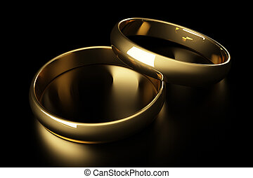 3d gold wedding ring lying on a black background