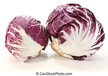 two Radicchio - two heads of fresh radicchio on a light...