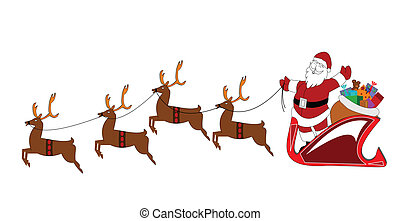 santa with reindeer - Santa in sled with reindeer over white...