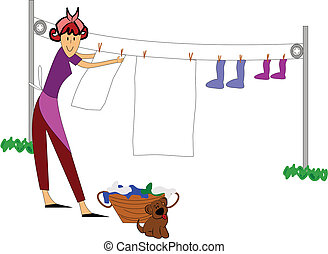 woman hanging clothes outside - retro housewife hanging...