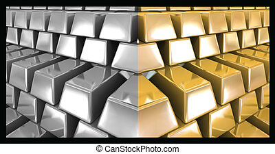 Gold and silver bars Vector illustration