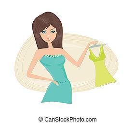 Shopping girl with her u200Bu200Bdress