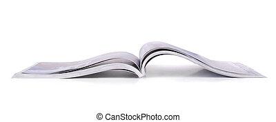 Magazine - Panoramic shot of open magazine isolated on white