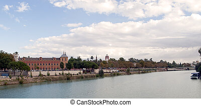 Sevilla - View of the city of Sevilla with the guadalquivir...