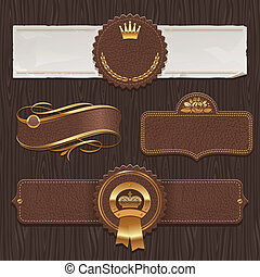 Leather and golden framed labels - Vector set of leather...