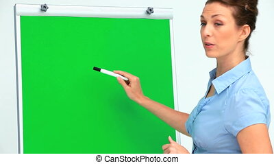 Businesswoman giving a presentation using a board