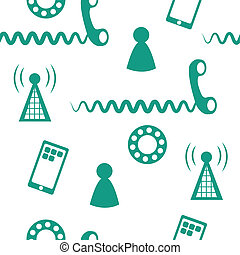 Phone Icons Seamless 2 - Seamless pattern of phone icons and...