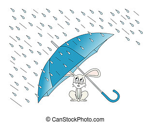 April Showers - Illustration of a rabbit taking shelter from...