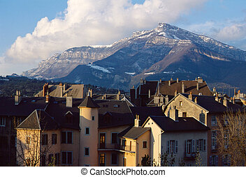 City of Chambery in Savoy, France and mountain of Nivolet -...