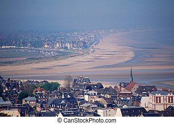 Overview of Deauville and Trouville in Calvados, France -...