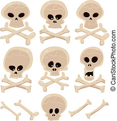 Skull And Cross Bones Set - Illustration of a cartoon...