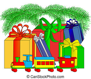 Under the Tree - Illustration of wrapped presents and a toy...