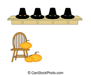 We Gather Together - Row of Pilgrim hats on a shelf over a...