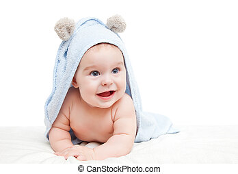 Cute crawling baby - Cute baby with towel on white