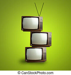 vintage television pile over green background