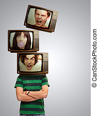 Television Head Man Portrait - Angry Television Head Man...