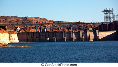 Glen Canyon Dam Lake Powell Electric Power Towers Lines Arizona