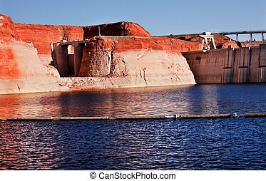 Glen Canyon Dam Lake Powell Canyon Walls Arizona