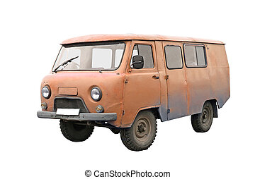 Old van isolated over white background