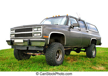 Off-road truck - Classic off-road truck on a green lawn