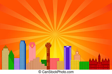 Dallas Texas City Skyline Panorama Color Silhouette with Sun...