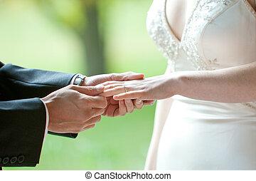 anello, matrimonio, scambio