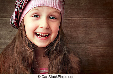 girl - beautiful girl in hat and red dress smiling