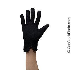Black glove on a hand