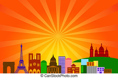 Paris France City Skyline Panorama
