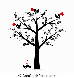 Valentine Tree - Beautiful valentine tree isolated on white...