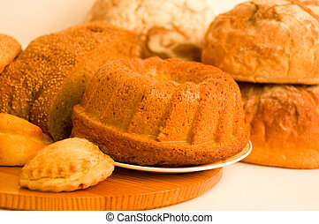 Beautiful bread set on white background