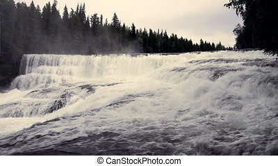 Dawson Falls wide shot - Dawson Falls in Wells Gray...