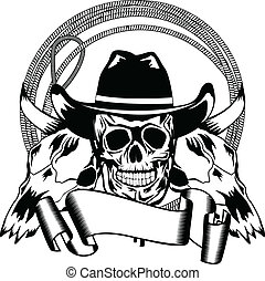 cowboy and skull bull - Vector illustration cowboy and skull...