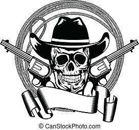 cowboy and two pistols - Vector illustration cowboy and two...